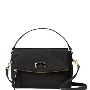 Kate Spade New York WILSON ROAD MIRI SHOULDER BAG Black Nylon Patent Leather